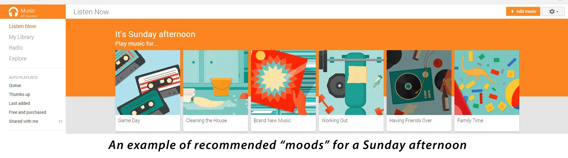 Google Play music moods