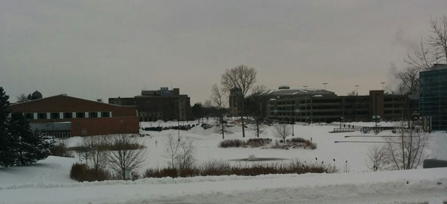 Eastern Michigan University during the winter