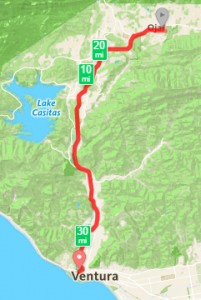 Ventura to Ojai bike trail overview