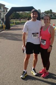 Amanda and Gregg Borodaty finish a 10K
