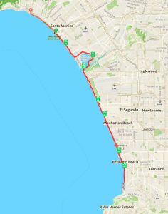 Map of the Marvin Braude Bike Path from Will Rogers State Beach to Torrance Beach