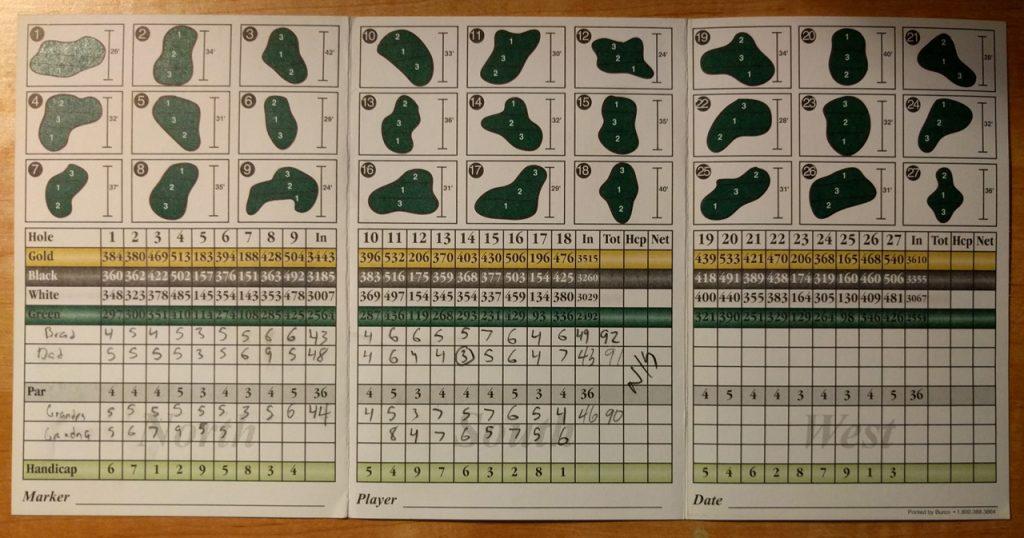 Pheasant Run scorecard 16-07-10