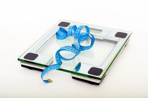 Weight scale and tape measure