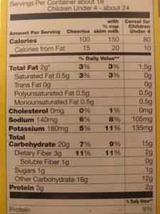 Food label - Cheerios