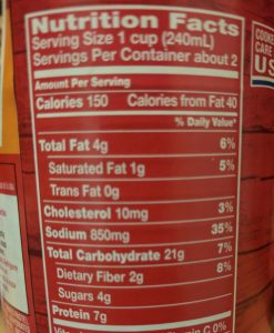 Food label - Campbell's Chunky soup