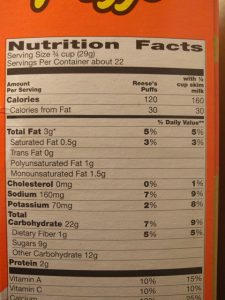Food label - Reese's Puffs