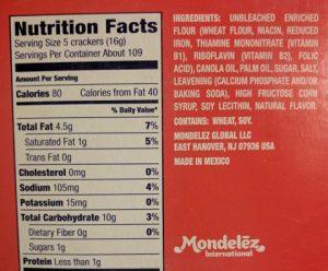 Food label - Ritz crackers