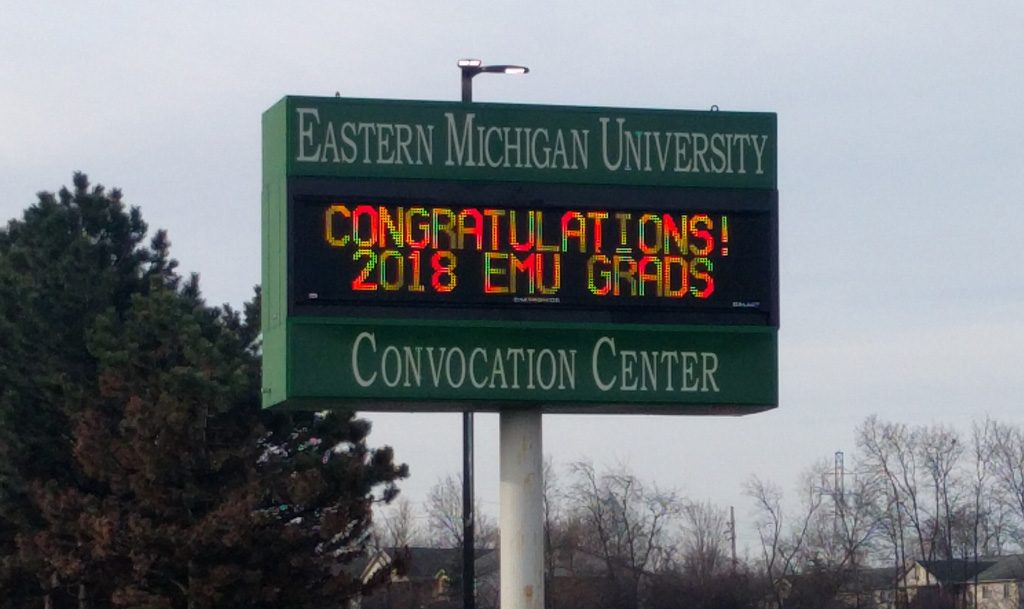 Eastern Michigan University graduation marque