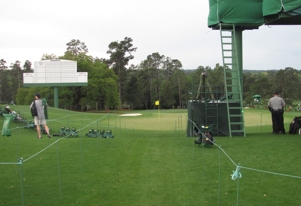 The walkway behind 18 green at The Masters
