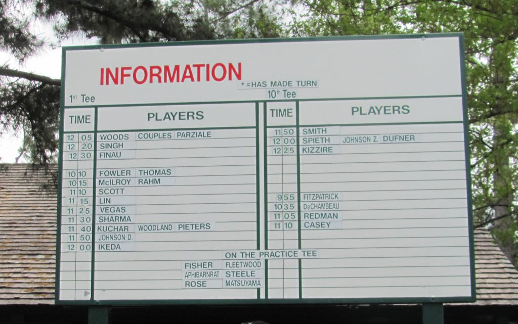 An information board at The Masters