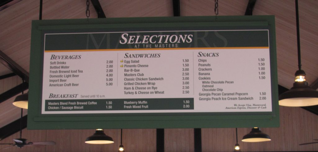 Menu board at The Masters