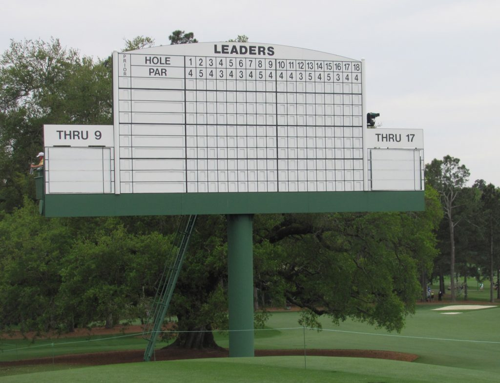 A scoreboard at The Masters
