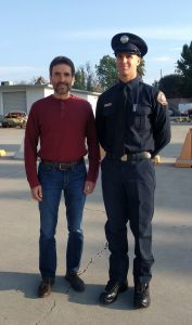 Bryce Cunningham and Gregg Borodaty prior to Bryce's firefighter graduation