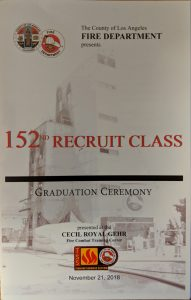 The County of Los Angeles Fire Department 152nd Recruit Class Program Cover
