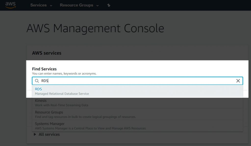Selecting RDS from the AWS Management Console