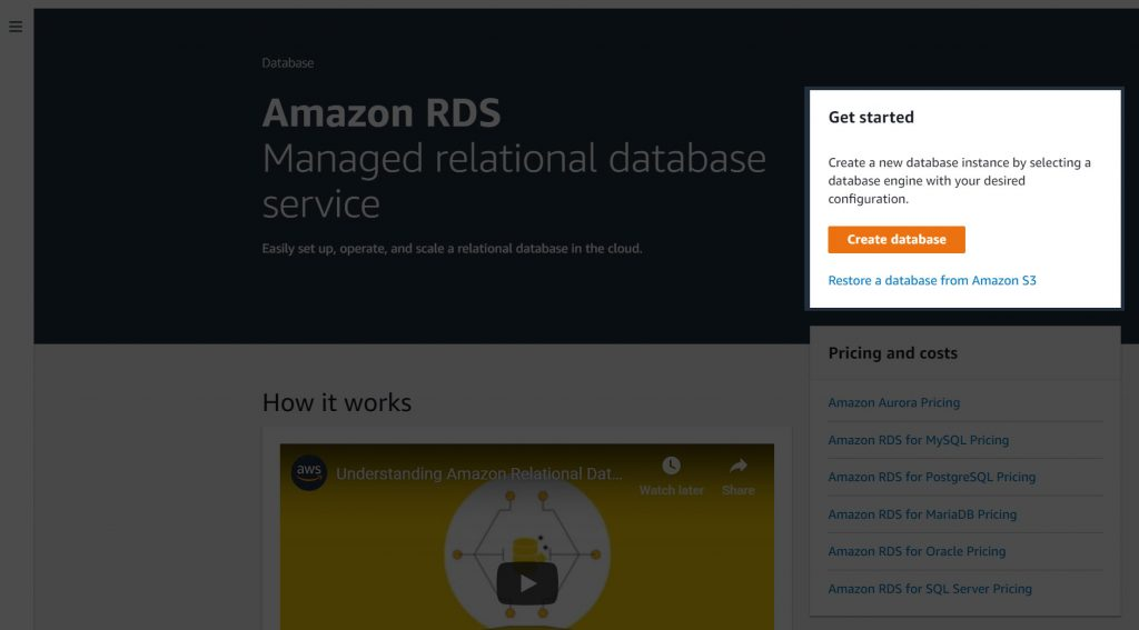 Amazon RDS landing page - create database