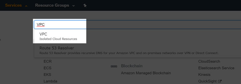 AWS Services - Select VPC