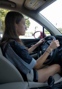Abbey behind the wheel