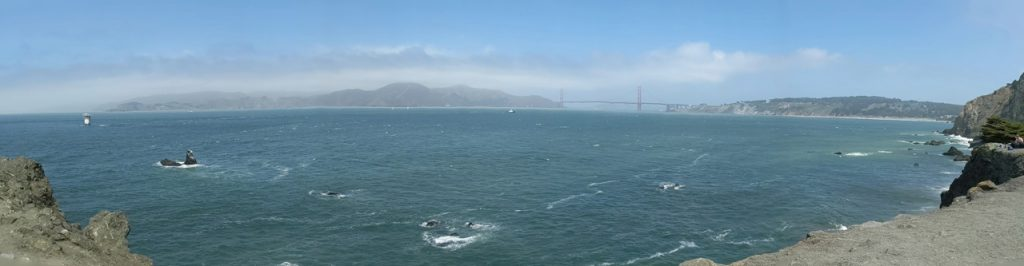 Panoramic image of The Golden Gate taken from Lands End Lookout