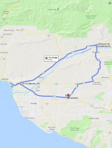 Route map for Freeway and Canyon Driving, Part 2