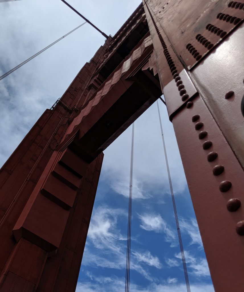 Photo from underneath a pier on the Golden Gate Bridge