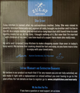 Zulay Kitchen story on the back of their packaging