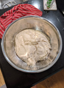 Freshly mixed bread ingredients before rising