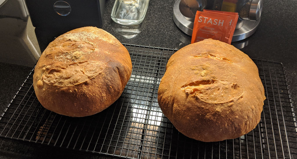 two loaves of no-knead crusty white bread
