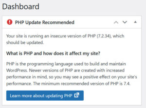 Wordpress PHP Update Recommended warning message