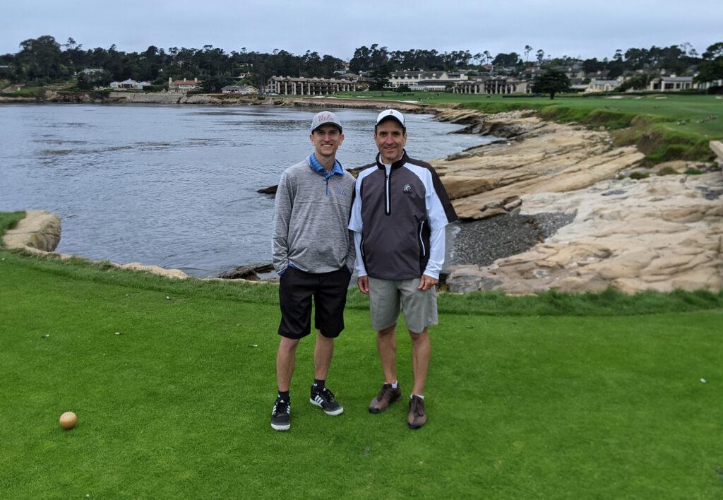 Brad Borodaty and Gregg Borodaty - 18th tee at Pebble Beach