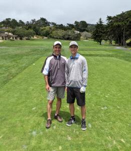 Gregg Borodaty and Brad Borodaty - 1st tee at Pebble Beach